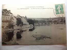 Carte Postale Montluçon (03) Le Pont Du Cher Et Le Quartier Des Nicauds  ( Petit Format Oblitérée 1923 Timbre 10 C ) - Montlucon