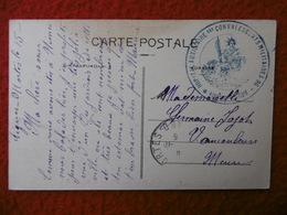 CACHET DE FRANCHISE 1915 AIGUES MORTES HOPITAL AUXILIAIRE DES CONVALESCENTS MILITAIRES 96 - Storia Postale