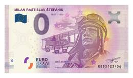 0 Euro Billet Souvenir Slovaquie 2019 - MILAN RASTISLAV ŠTEFÁNIK - Aviateur - Autres