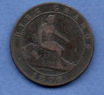 Espagne -- 10 Centimos 1870   - Km # 863   - état  B+ - First Minting