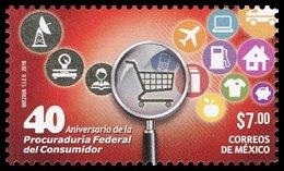 2016 MÉXICO 40 Aniv. Procuraduría Federal Consumidor, MNH Federal Consumer Protection, Magnifying Glass, TRAFFIC SIGNS - México