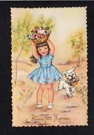 Fête Des Mères / Bonne Fête Maman / Fillette,chien,fleurs ( Dessin Illustrateur ? ) - Día De La Madre