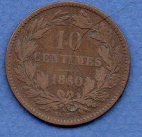 Luxembourg--  10 Centimes 1860    - Km # 23.2  - état  B+ - Luxemburg
