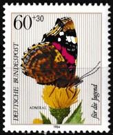 Timbre-poste Gommé Surtaxé Neuf** - Insectes De La Pollinisation Vanessa Atalanta - N° 1035 (Yvert) - RFA 1984 - BRD
