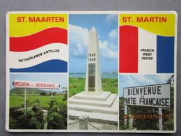 CP Les Antilles Néerlandaises SAINT MARTIN Sint Maarten - French West Indies Monument 1648 1948 Bienvenue En P Francaise - Saint-Martin