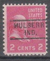 USA Precancel Vorausentwertung Preo, Locals Indiana, Mulberry 729 - Vorausentwertungen