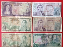 Billet. 1. Six Billets De 2, 5, 10 Et 200 Peso - Colombia