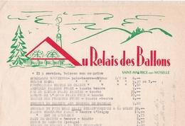 88-Au Relais Des Ballons..Menu (2)..Saint-Maurice-sur-Moselle..(Vosges) - Menus