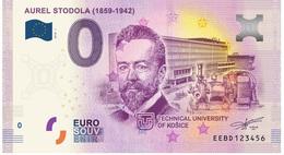 0 Euro-Schein Souvenir Slowakei 2018 - Aurel Stodola TUKE - Technische Universität Kosice - EURO