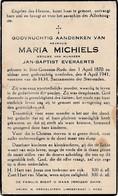 Sint-Genesius-Rode, 1941, Maria Michiels, Everaerts - Images Religieuses