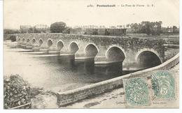 PONTAUBAULT. Passage Du Tramway D' Avranches Sur Le Pont De Pierre. - Autres Communes