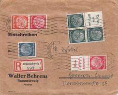 Env Reco Affr Michel514 + 516 X 3 + 517 + 519 X 2 OBL BRAUNSCHWEIG Du 31.8.39 Adressée à Hannover - Lettres & Documents