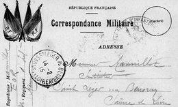 """CP-"""" Correspondance  Militaire """"  - 4 Drapeaux- - Marcophilie (Lettres)"""