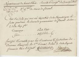 Bourglibre St.Louis An 2 – 20.5.1794 État Des Sels Expédiés En Suisse - Documents Historiques