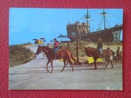 POSTAL POST CARD CON SELLO WITH STAMP BULGARIA ? CABALLOS CABALLO Y BARCO BOAT SHIP HORSES HORSE CHEVAL LES CHEVAUX VER - Caballos