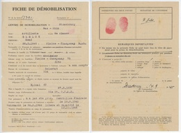 Fiche De Démobilisation Plaine Champenay 23.11.1944 - Storia Postale