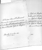 Mariage 1911 D'Oultremont Pierre & Elisabeth Pycke De Peteghem Bruxelles Gand Gent  Geelhand De Labistrate 2 Feuilles - Mariage