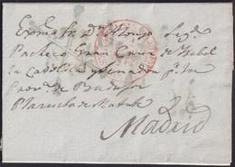 1844. VILLALBA A MADRID. FECHADOR ROJO DE ALMENDRALEJO Y FRANQUICIA SENADORES Y DIPUTADOS AZUL. MUY INTERESANTE. - ...-1850 Voorfilatelie