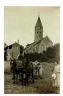 Carte Photo - Montbellet - Eglise Saint Didier (belle Scène Agricole, Faucheuse Attelée à Deux Chevaux) Pas Circulée - France