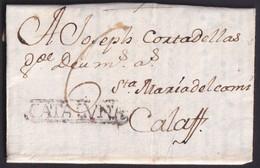 1781. CERVERA A CALAF. MARCA CATALVÑA RECUADRADA NEGRO. PORTEO MNS. 6 CUARTOS. EXTENSO TEXTO CATALÁN. MUY BONITA. - España