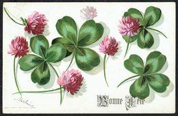 """Fleur - Chardons Et Trèfles à 4 Feuilles - """" Bonne Fête... """" - Circulé - Circulated - Gelaufen - 1906. - Fleurs, Plantes & Arbres"""