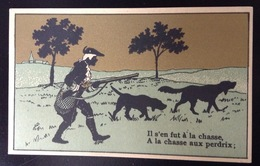 FRESNES Chocolat Droulers La Magicienne Chromo Dorée  Fusil Chien Chasse Perdrix Chanson  Chasseur - Chocolat