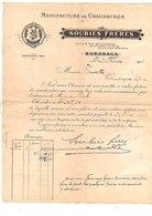 1911 FACTURE SOUBIES FRERES MANUFACTURE DE CHAUSSURES à BORDEAUX - France