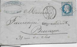 TIMBRE NAPOLEON III Sur Lettre  Avec Cachet ( St-Vit  )  Tampon Losange - 1853-1860 Napoleon III