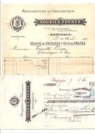 1911 FACTURE + TRAITE SOUBIES FRERES MANUFACTURE DE CHAUSSURES à BORDEAUX - France