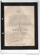 Constance Hermans Douairiere Vanden Hove President Tirbunal Prem Instance Louvain °Herk De Stad 1812+12/2/1890 Diest De - Décès