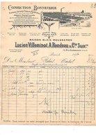 1910 FACTURE LUCIEN VILLEMINOT & A. RONDEAU CONFECTION BONNETERIE RUE BACHAUMONT à PARIS - France