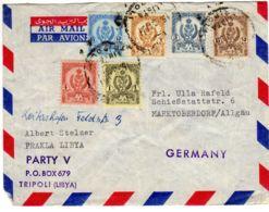 1961; Bedarfsbrief Mit Staatwappen Nach Deutschland, Mi-Nr. 61, 92, 93, 94, 97 + 101; Los 51333 - Libyen
