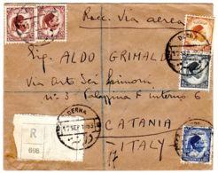 12.9.1953; Einschreibebrief Nach Italien, Mit Mi-Nr. 2, 35, 40, 41 (2x), Gem. Scan, Los 51334 - Libyen