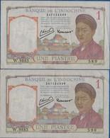 INDOCHINE - 2 Billets De Une Piastre ( Numéros A La Suite- (W.9885 - 589 Et 590 )  Bon état  Voir Scans - Indochina
