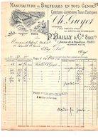 1910 BELLE FACTURE (RECTO VERSO) P. BAILLY & Cie MANUFACTURE DE BRETELLES AVENUE DE LA REPUBLIQUE à PARIS - France