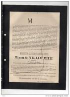 Vicomte Vilain XIIII Senateur Bourgmestre Basel °1810+Bruxelles 23/2/1886 De Kerchove De Denterghem Node De Schiervel - Décès