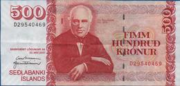 ISLANDE -  500  Kronur Du  22 Mai 2001 -   Bon état       Voir Scans - Islande