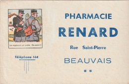 60 - BUVARD - BEAUVAIS - PHARMACIE RENARD - Buvards, Protège-cahiers Illustrés