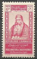Lebanon - 1942 Independence Anniversary  6p MNH **    Mi 257  Sc 158 - Great Lebanon (1924-1945)