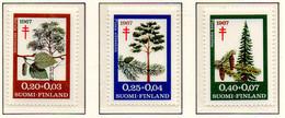 PIA - FINLANDIA  - 1967 : Sovrattassa A Favore Della Lotta Contro La Tubercolosi - Alberi -  (Yv 593-95) - Malattie