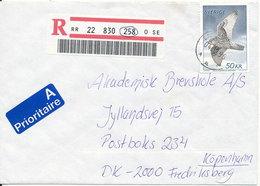 Sweden Registered Cover Sent To Denmark Landvetter 4-12-1995 Single Franked - Sweden