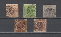 DANEMARK.  YT  N° 4-5-6-8-2  Obl  1854 - 1851-63 (Frederik VII)