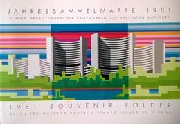 BM839 Souvenir Folder UNO Wien Vienna 1981, UNO-Stempel Wien PLZ 1400, 7 Werte, Eingeklebt - Oblitérés
