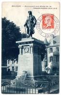 AVION = PARIS 194? = CACHET   Illustré = EXPO. PHILAT. PÄRIS POSTE AERIENNE 7 OCT + CPA MAURIAC Monument Aux Morts - Cachets Commémoratifs