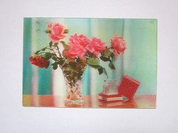 3d Lenticular Postcard Stereo Roses Parfume - Stereoscope Cards