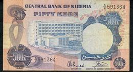 NIGERIA P14g 50 KOBO 1973 Signature 7 VF NO P.h. - Nigeria