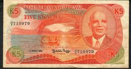 MALAWI P20a 5 KWACHA 1986 #J/9   FINE - Malawi