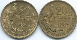 France - 20 Francs - 1950 (KM916.1) & 1950 B (KM916.2) - Francia