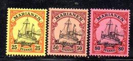 APR1116 - MARIANNE MARIANEN 1900 , 3 Valori Diversi Linguellati *  (2380A) . - Colonia:  Isole Marianne