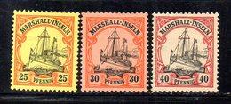 APR1117 - MARSHALL 1900 , 3 Valori Diversi Linguellati *  (2380A) . - Colonia: Isole Marshall
